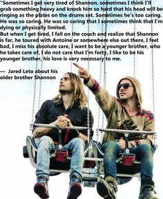Aww God! This is the one only thing I can say Jared Leto really depends on: his brother's love for him. #Letobrothers