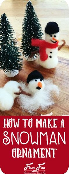 I love this how to make a snowman ornament tutorial. It looks easy and fun to make! Great DIY project for Christmas ornaments! Great family fun project. #christmas #crafting #nosew Make A Snowman, Felt Snowman, Snowman Ornaments, Handmade Ornaments, Christmas Ornaments, Christmas Decorations, Unique Christmas Trees, Christmas Makes, Simple Christmas
