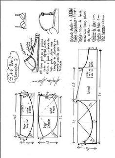 Esquema de modelagem de sutiã tamanho G.