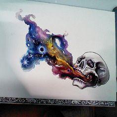 watercolor skull tattoo | ... : Planet Tattoo Designs , Galaxy Tattoo , Space Tattoo Designs