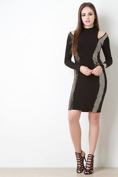 Metallic Sequin Open Shoulder Dress