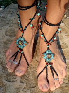 BAREFOOT SANDALS with black lace from hand made SHANTI collection