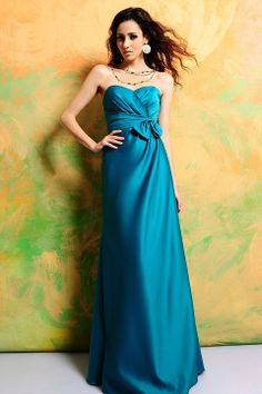 Sweetheart A-line with bow satin bridesmaid dress