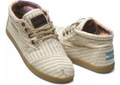 linen pinstripe women's botas