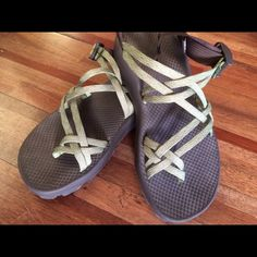 Women's chacos size 10! Worn once, like new condition, feminine double strap, pretty color green women's chacos size 10 Chacos Shoes Sandals