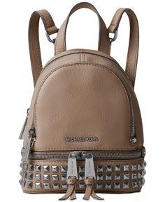 8f4e215c12be MICHAEL Michael Kors Rhea Zip Mini Pyramid Stud Messenger Backpack &  Reviews - Handbags & Accessories - Macy's