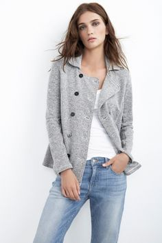 afin heather grey fleece coat || velvet by graham and spencer
