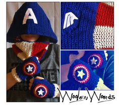 Captain America crocheted set: hood, neckwarmer and fingerless short gloves. Made in a bright blend of wool and acrylic, with details added in white felt. Find it on my Etsy shop!