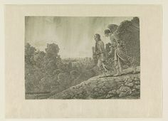 Hercules Segers (Dutch, ca. 1590–ca. 1638), Tobias and the Angel, ca. 1630-33. Line etching printed with tone and olive green highlights; first state of six, 7 15/16 × 10 7/8 in. (20.1 × 27.6 cm). Rijksmuseum, Amsterdam; transferred from the Koninklijke Bibliotheek, collection Pieter Cornelis Baron van Leyden (1717-1788), 1816 (inv.nr. RP-P-OB-796)