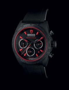 Tudor's Fastrider Black Shield, a watch inspired by Ducati motorcycles, features a monobloc case in black matte ceramic with red accents. The scratch-resistant case is produced from a single piece of high-tech injected ceramic, instead of ceramic applied as a coating to another material. The dial and bezel are accentuated by red details, including the red Tudor seal at the 12 o'clock position.