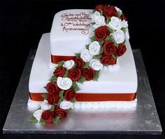2 tier anniversary cake ideas with flowers Different Anniversary Cake Ideas