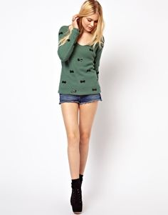 Image 4 ofJovonnista Jumper With Sequin Bow Detail