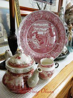 on the mantle Antique Dishes, Vintage Dishes, Vintage China, Vintage Teacups, Vintage Plates, Pink Dishes, White Dishes, Red And Pink, Red And White