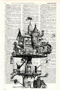Book print Steampunk House Printed on Vintage Book page by PRRINT