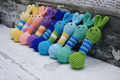 Love these! !! Etsy listing at https://www.etsy.com/listing/104849247/baby-teething-toy-amigurumi-rabbit