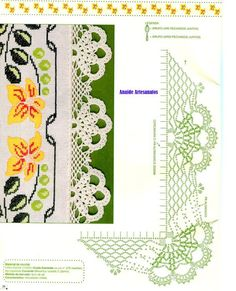 World crochet: Crocheted lace 63 Crochet Buttons, Thread Crochet, Crochet Trim, Crochet Granny, Filet Crochet, Crochet Scarves, Crochet Motif, Easy Crochet, Crochet Lace