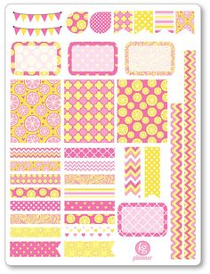One 6 x 8 sheet of Pink Lemonade decorating kit/weekly spread planner stickers cut and ready for use in your Erin Condren life planner, Filofax, Plum
