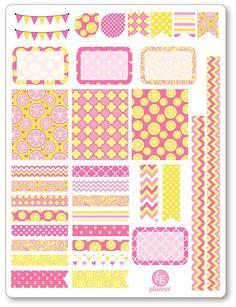 Limonada rosa decoración Kit / extensión semanal por PlannerPenny