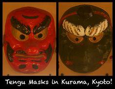 Tengu Masks on display in Kurama station, kyoto