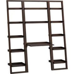 Sloane Java Leaning Desk with Two Bookcases from Crate and Barrel. Saved to Things I want as gifts. Modern Home Office Desk, Modern Home Offices, Desk Office, Small Office, Desk Shelves, Bookcase Shelves, Bookcases, Desk Storage, Bookshelf Ladder