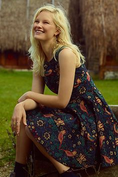 Larksong Corduroy Dress #anthropologie.  I bought this dress and love the cut, sparkle, an whimsicalness of it.