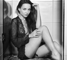 Angelina B b&w - Model: Angelina Petrova Light: Standard reflector camera axis, slightly above camera level. see it larger on my website: pohlann.com This is not spamming 500px, just want to see which one is liked better