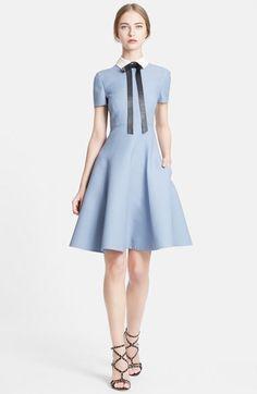 Valentino Bow Neck Short Sleeve A-Line Dress