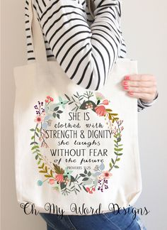 A personal favorite from my Etsy shop https://www.etsy.com/listing/267964848/scripture-tote-bag-cotton-canvas-tote