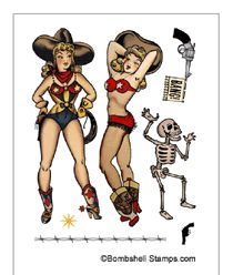 Bombshell Stamps - Vintage Tattoo & Retro Pin-up Rubber Stamps skeleton Western Tattoos, Traditional Flash, Retro Pin Up, Sailor Jerry, Tattoo Flash Art, Pin Up Girls, Bombshells, Paper Dolls, Sleeve Tattoos