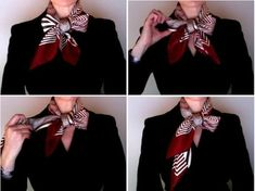 How to make a half bow knot. Fold your scarf in the basic bias, then place around your neck. Tie a bow (in the same way you tie your show laces). Pull one of the loops out, et voilà.