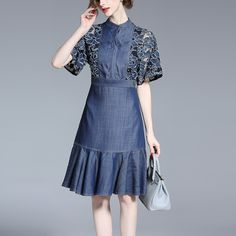 LACE FISHTAIL DENIM DRESS WITH EMBROIDERY  Old: $86.28 Now: $52.68