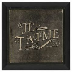 """Evocative of old-time movie title cards, this charming framed French typographic print brings vintaged style to your decor.   Product: Wall artConstruction Material: Glass, ink, wood and metalColor: Black frameFeatures:  Ready to hangMade in the USADimensions: 9.75"""" H x 9.75"""" W"""