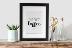 But First Coffee Printable Art Instant Download by chloecatdesigns