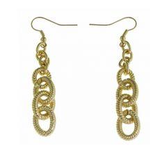 1AR Ribbed Hoop Dangle Earrings