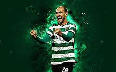 Bas Dost, 4k, Sporting, Neon, Sports Wallpapers, Colorful Wallpaper, Download, Soccer, Football