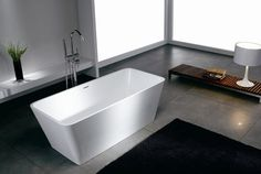 Square Bathtub Design For Contemporary Bathroom With Black Rugs On The Grey Marble Tiles Floor And Wooden Square Table Chair - pictures, photos, images Contemporary Bathtubs, Modern Bathtub, Modern Bathroom Design, Bathroom Interior, Freestanding Bathtub, Bathroom Ideas, Bath Ideas, Bathroom Remodeling, Bathroom Inspiration