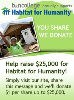 With this pin, Barnes & Noble College donated one dollar to Habitat for Humanity on my behalf.  Help them reach their goal!  They can only track pins, not repins.  To share, visit bnctextbookrental.com.  #iBuild #WhatIBuiltToday