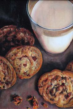 "Mary Ellen Johnson: ""Chocolate Chip Cookies and Milk"" Bourbon Biscuits, Rich Tea, Malted Milk, Kinds Of Cookies, Candy Cakes, Food Painting, Biscuit Cookies, Food Drawing, Some Recipe"