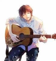 anime girl playing guitar blue