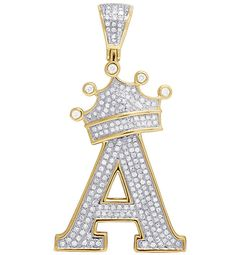 """Men's Yellow Gold Over Round Diamond Crown Initial Letter """"A"""" Pendant Charm Letter Pendant Necklace, Letter Pendants, Gold Chain With Pendant, Gold Pendant, Ideal Cut Diamond, Diamond Crown, Initial Letters, Luxury Watches For Men, White Topaz"""
