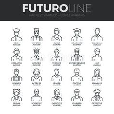 Modern thin line icons set of people avatars, various human characters staff. Stroke vector logo concept for web graphics. Email Icon, Line Images, Thin Line, Logo Concept, Pictogram, Line Icon, Geisha, Image Now, Icon Set