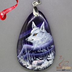 PRETTY HAND PAINTED WOLF GEMSTONE AGATE DIY NECKLACE PENDANT BEAD ZL809043 #ZL #Pendant