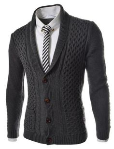 TheLees Men's Slim Fit Knitted 4 Button Cardigan
