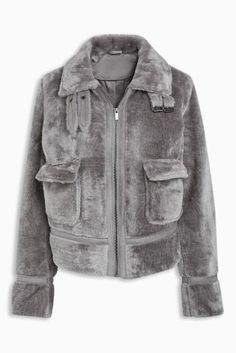 Buy Grey Faux Fur Trucker Jacket from the Next UK online shop