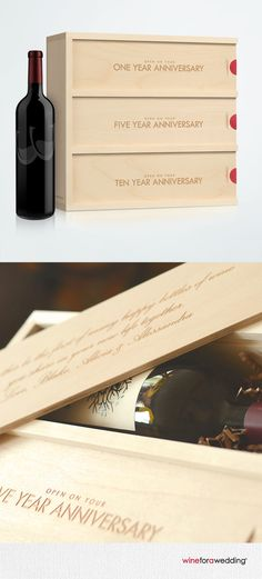 A unique & handcrafted wedding gift! Toast the newlyweds on their 1st, 3rd and 5th anniversaries with a bottle of wine and a personal message from you engraved on the back of each lid. http://wineforawedding.com