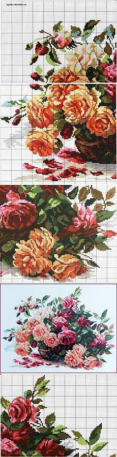"""Схема вышивки крестом """"Розы"""""""