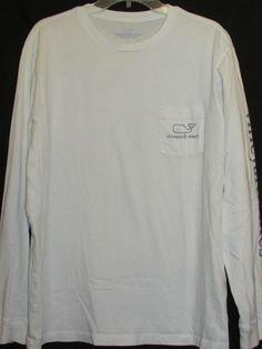 VINEYARD VINES Mens Sz LG White Long Sleeve T-Shirt Whale Pocket Back Graphic #VineyardVines #GraphicTee