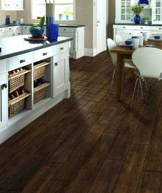 Love The Wood Grain Tile Against White Cabinets