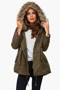 Well, I'm gonna have to get a winter jacket now.... Bleeker Fur Hooded Jacket - Olive