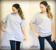 Men's T-shirt into Woman's Dolman Shirt (NOT no-sew)--40 Genius No-Sew DIY Projects | Brit + Co.